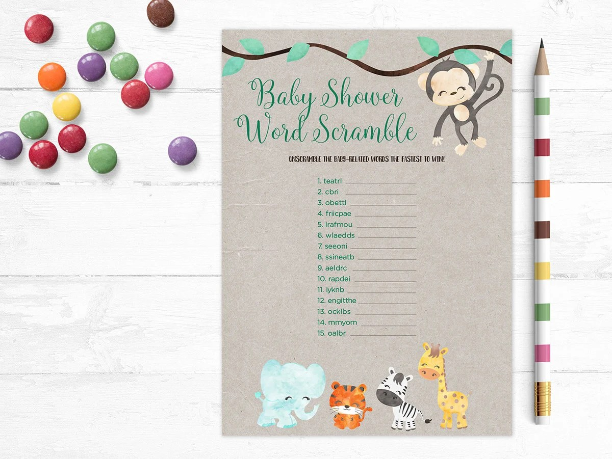 Printable Baby Shower Game Word Scramble Unscramble