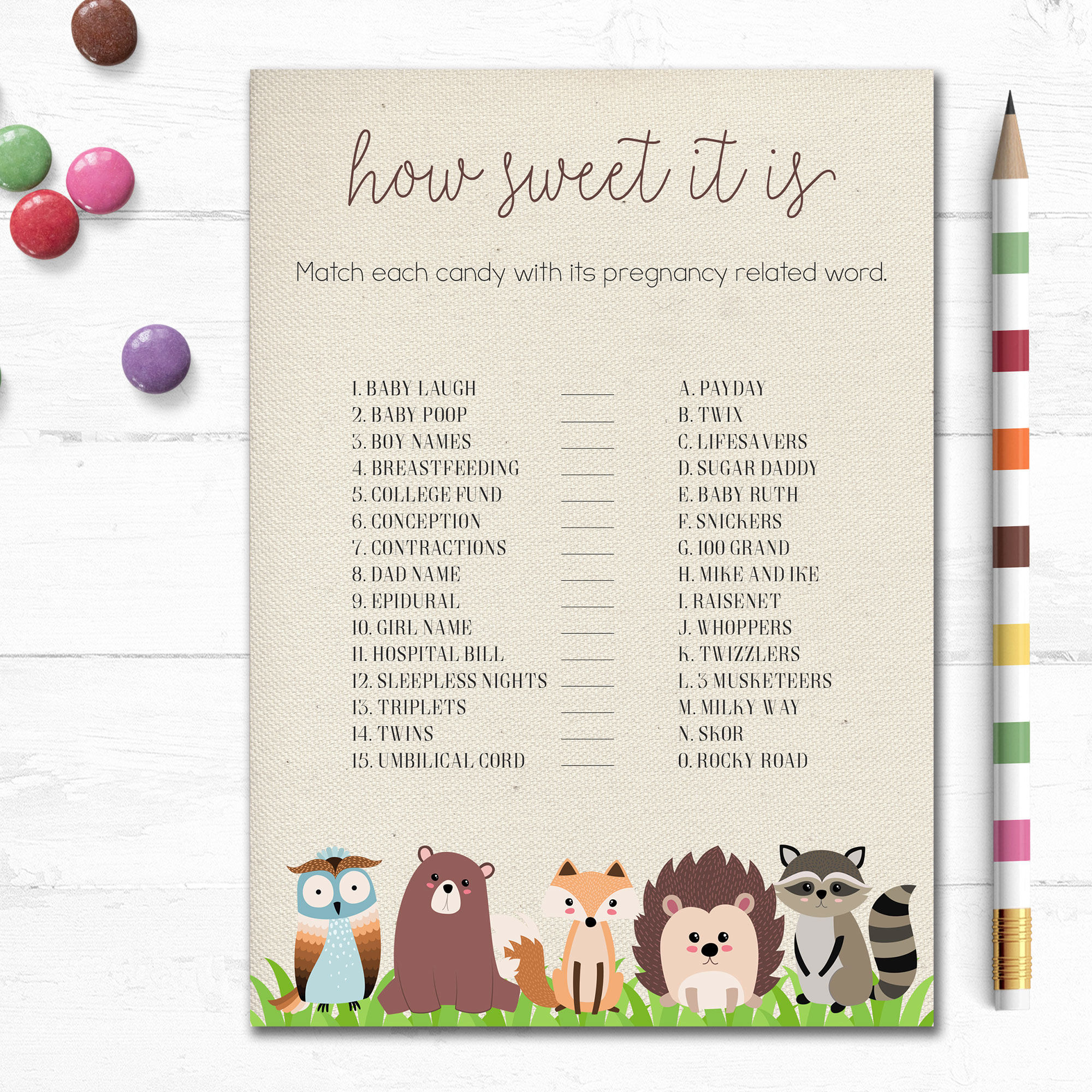 Printable Woodland Baby Shower Game How Sweet It Is