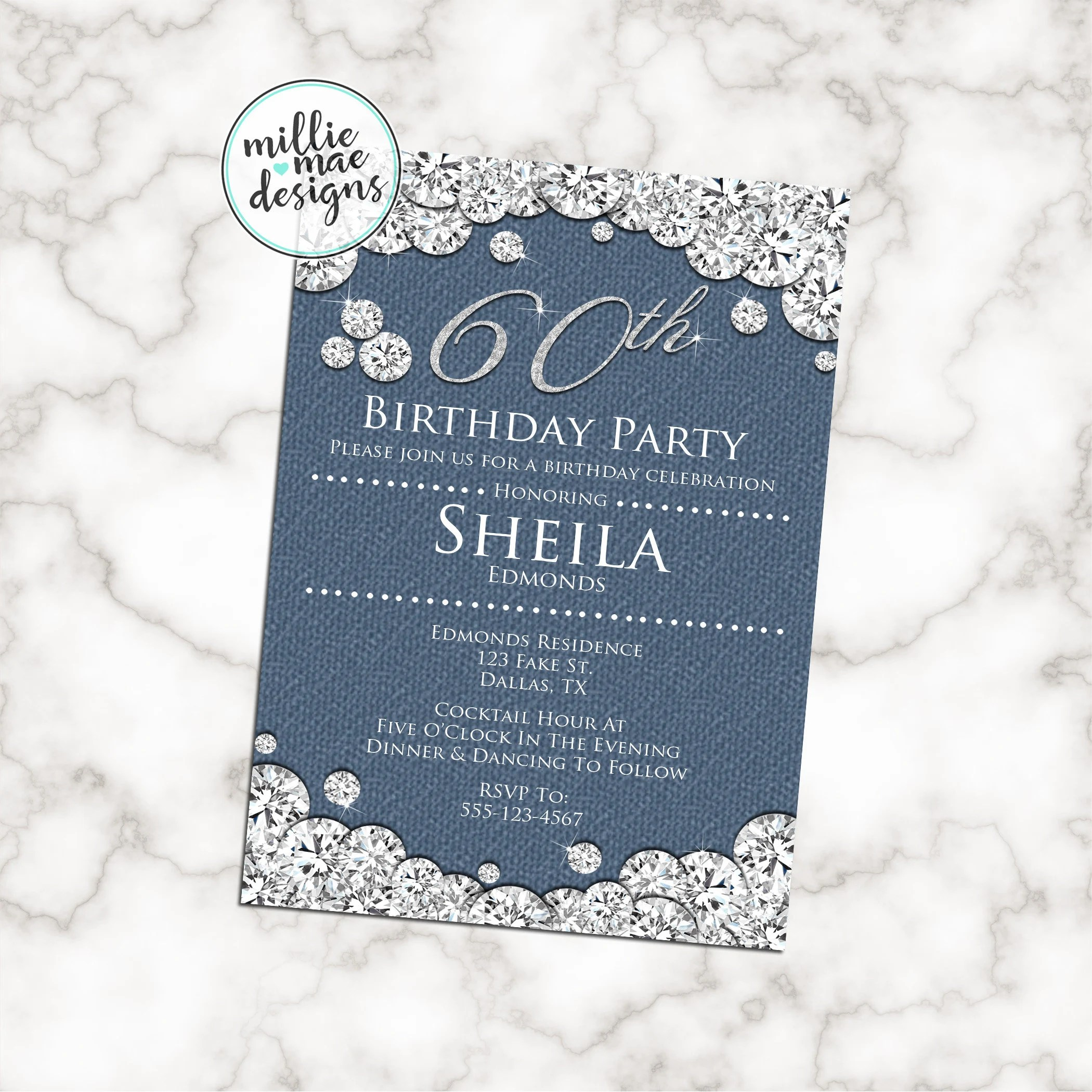 Denim And Diamonds Party Invitation Blue Jeans Bling