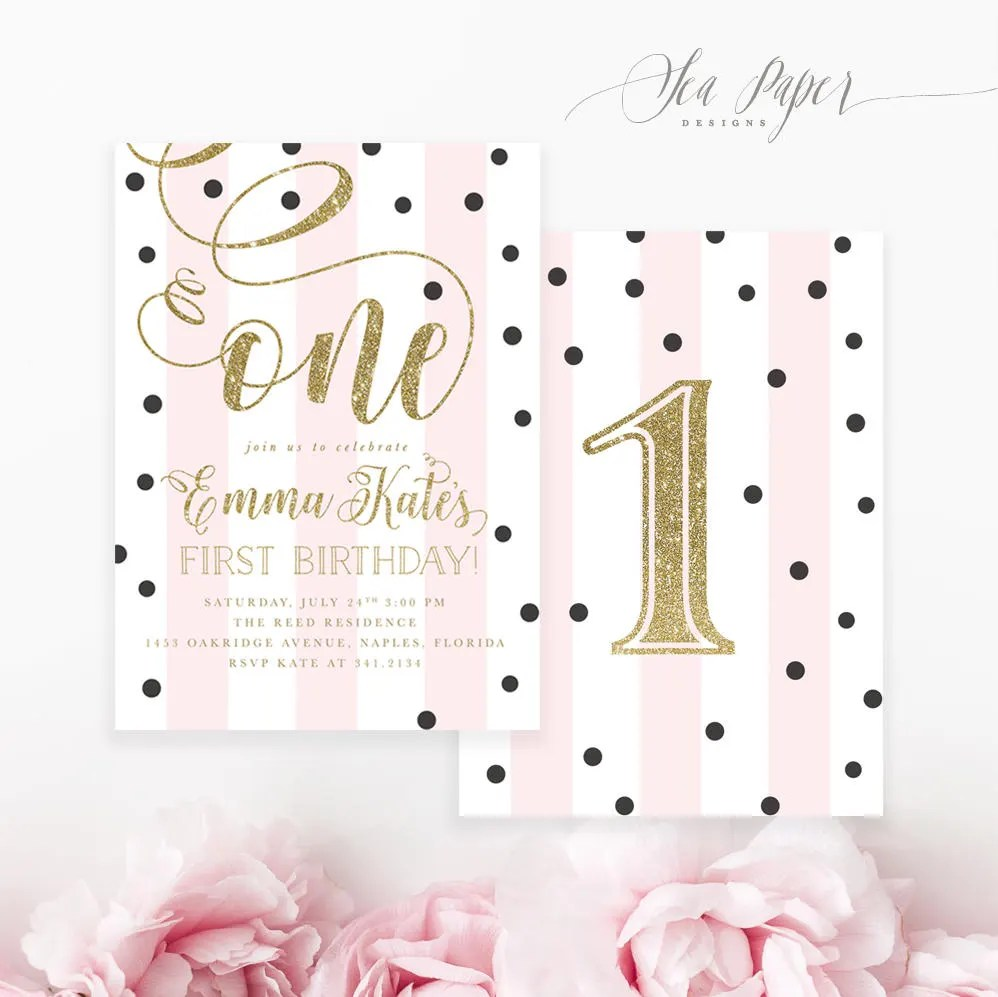 pink gold first birthday party