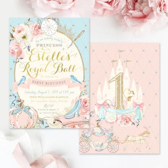 Cinderella Birthday Party Invitation Princess Birthday Etsy