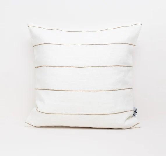 white linen pillow covers with natural jute stripes boho throw pillow cases linen pillow case euro sham bohemian pillow cover 26x26 pillow