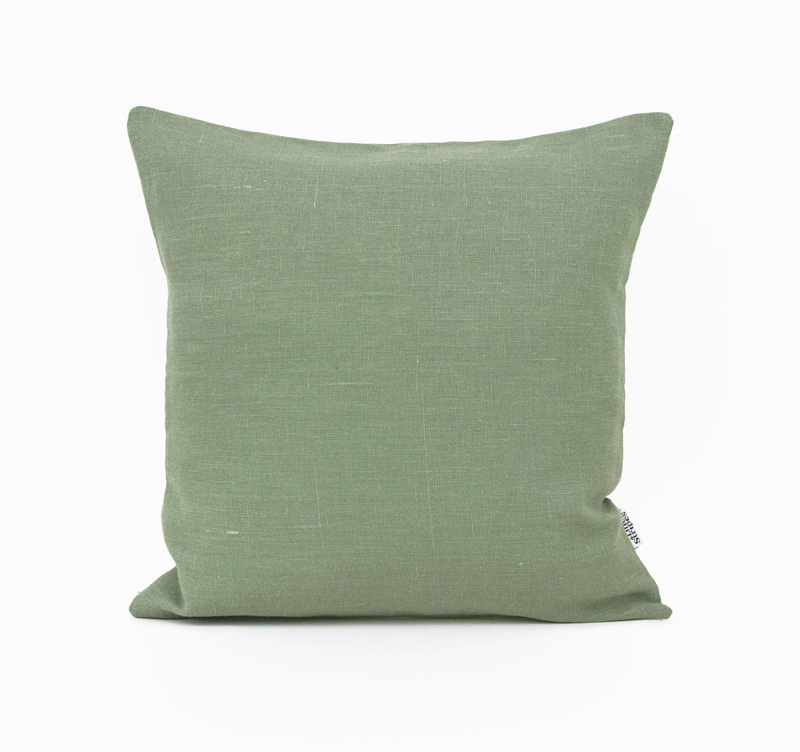 moss green pillow cover linen throw pillow covers 24x24 linen cushion cover vegan pillow case green accent pillow cases green euro sham
