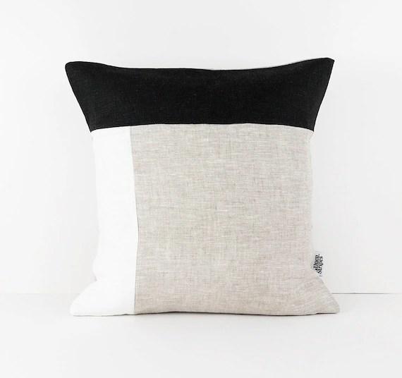 color block pillow covers in black white beige linen cushion cover geometric linen pillow sham black and white cushion cover 50x50 pillow