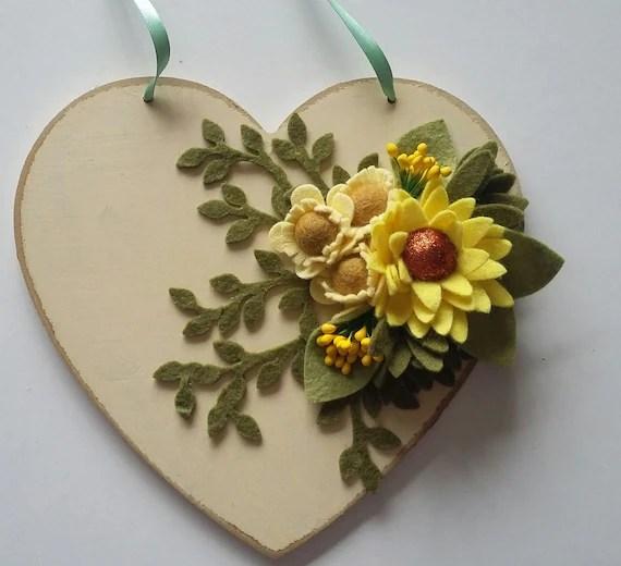 Decorative Heart with Felt Flowers