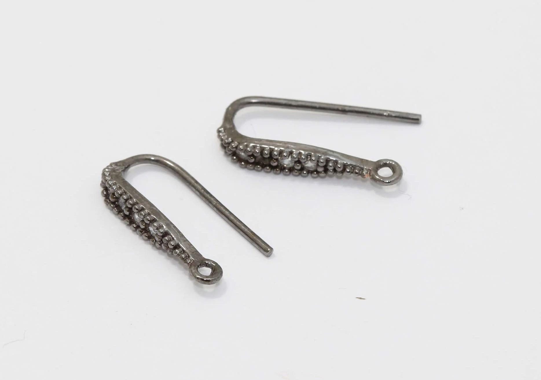 2 Pcs Gunmetal Earring Hooks 17x28mm Bridal Pearl Earrings