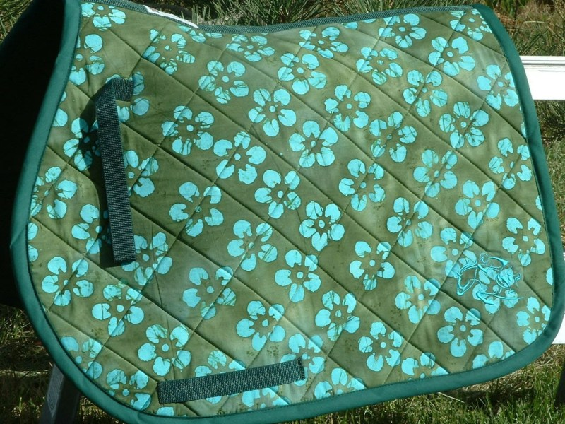 Ready to Ship   Green w  Blue Flowers Teal Embroidery Horse Pad Ready to Ship   Green w  Blue Flowers   Teal Embroidery Horse Pad