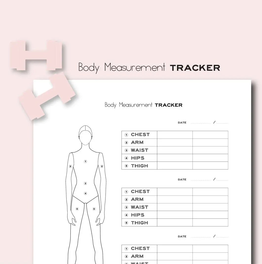 Body Measurement Tracker Printables 8 5x11 Inches