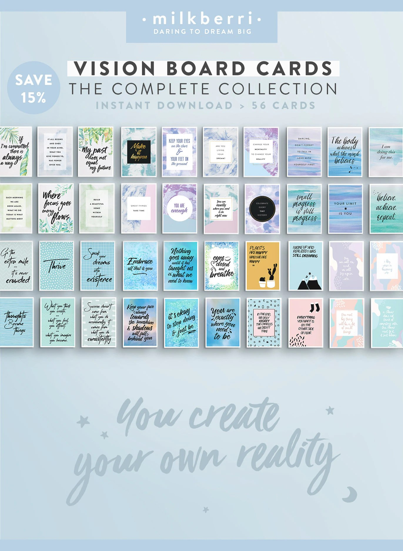 Vision Board Quote Cards Complete Collection Quote Print