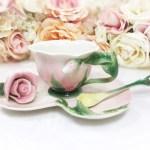 Ceramic Pink Rose Flower Tea Trio Tea Service Tea Set Cup Saucer Spoon For Garden Tea Party Tea Time A186