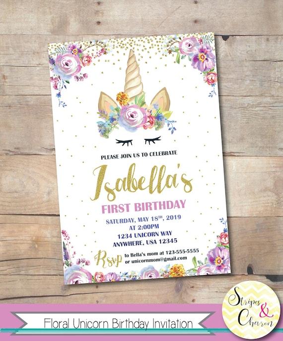 floral unicorn birthday invitation