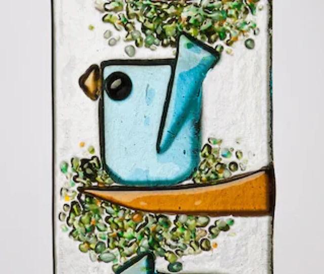 Trio Of Whimsical Aqua Birds In Fused Glass