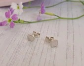 Tiny minimal square studs, recycled sterling silver. Eco friendly. Geometric.