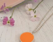 Orange resin and recycled sterling silver necklace, round charm, fun, minimal, simple, everyday, gift for her