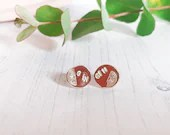SALE Gin stamped recycled sterling silver stud earrings
