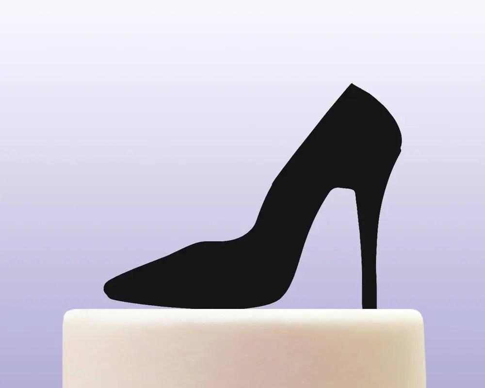 Purple Grape Lilac Stiletto Shoe Cake Topper Sugar Glass