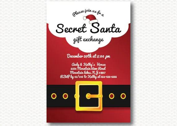 Secret Santa Invitation Holiday Party Gift Exchange Etsy