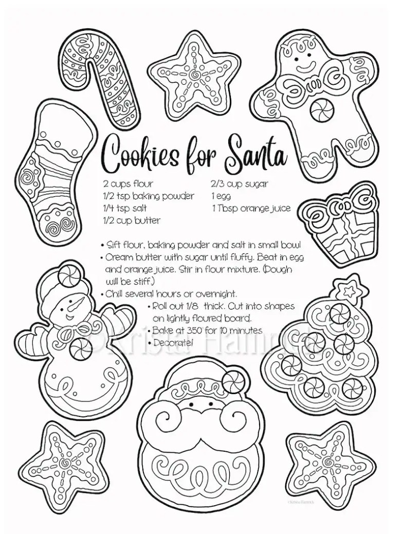 christmas cookies / a letter for santa 2 coloring pages for christmas,  8.5x11""