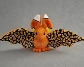 MADE TO ORDER Custom Color Bat Plush with Candy Corn Ears and Inside Wing
