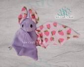 PRE-ORDER Light Purple Pink Strawberry Bat Plush Scented or No Scent