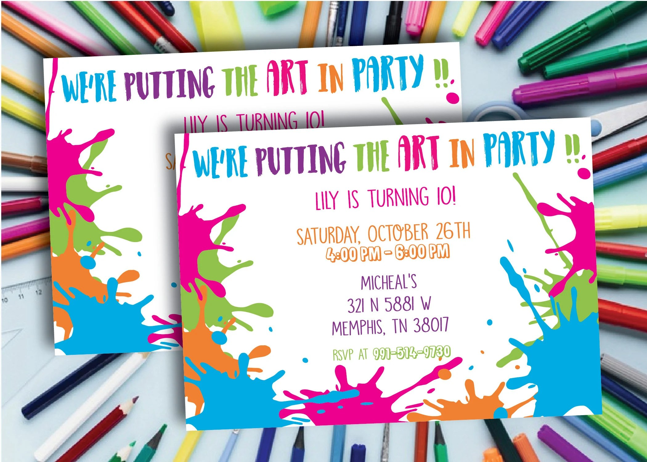 art party invitation paint invitation art birthday party invite 10 year old painting party art invitation download