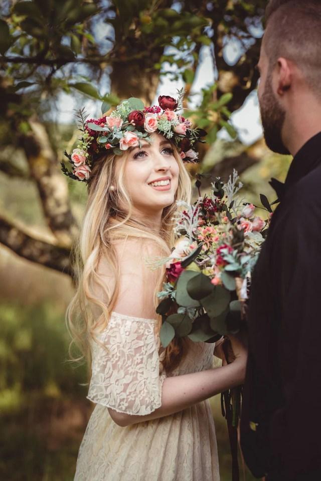 romantic boho hair wreath floral crown bridal accessories wedding hair wreath magaela floral accessories hair flowers boho style handmade
