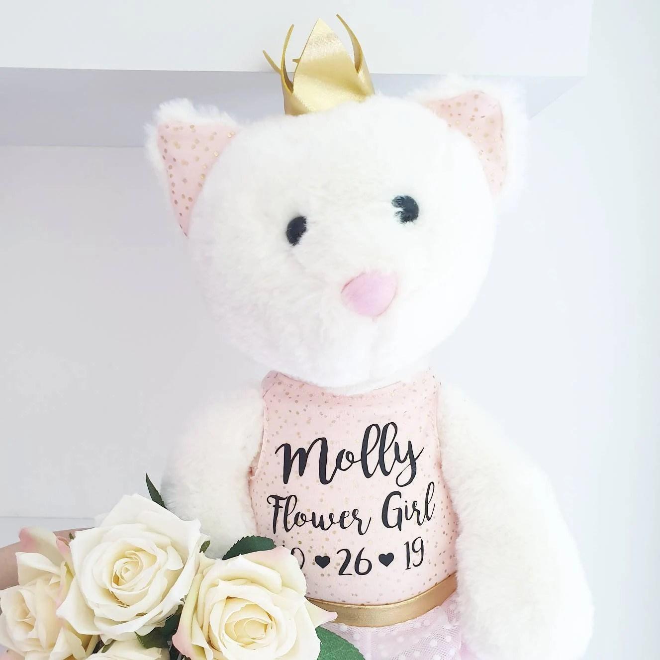 Flower girl gift Wedding gift Bridesmaid gift flower girl Cat