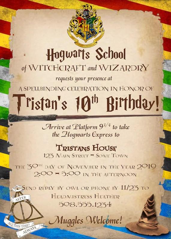 harry potter birthday invitation printable