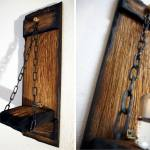 Wood Hanging Wall Sconce Candle Holder Primitive Rustic