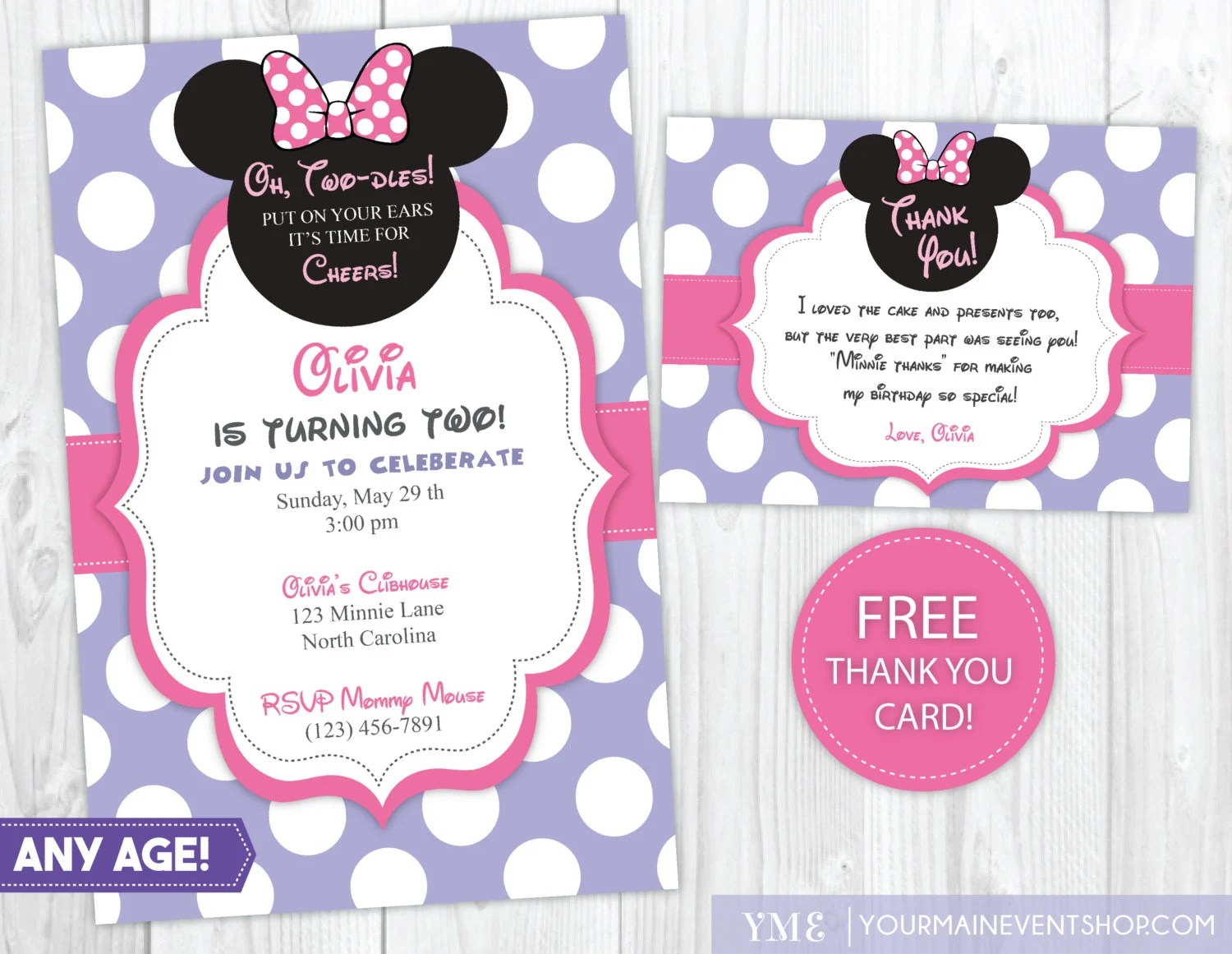 Minnie Mouse Invitation Minnie Mouse Thank You Cards Minnie Mouse Birthday Party Invites Printable Invite By Your Main Event Prints Catch My Party