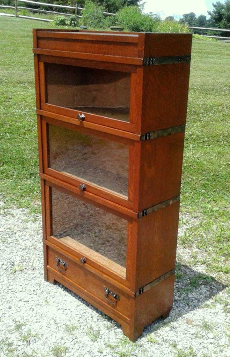Antique 3 4 Wide Barrister Bookcase 3 Stack With Drawer Globe Wernicke Tiger Oak