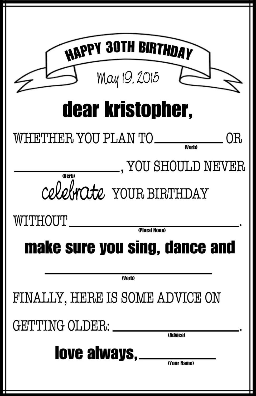 Birthday Mad Libs Etsy