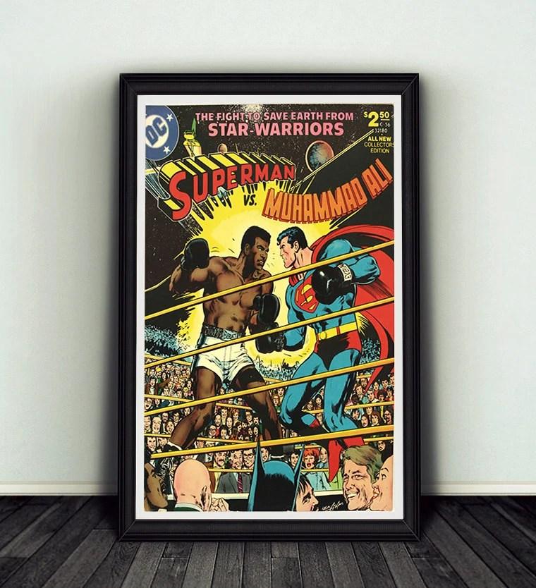 muhammad ali vs superman boxing comic book print 11x17