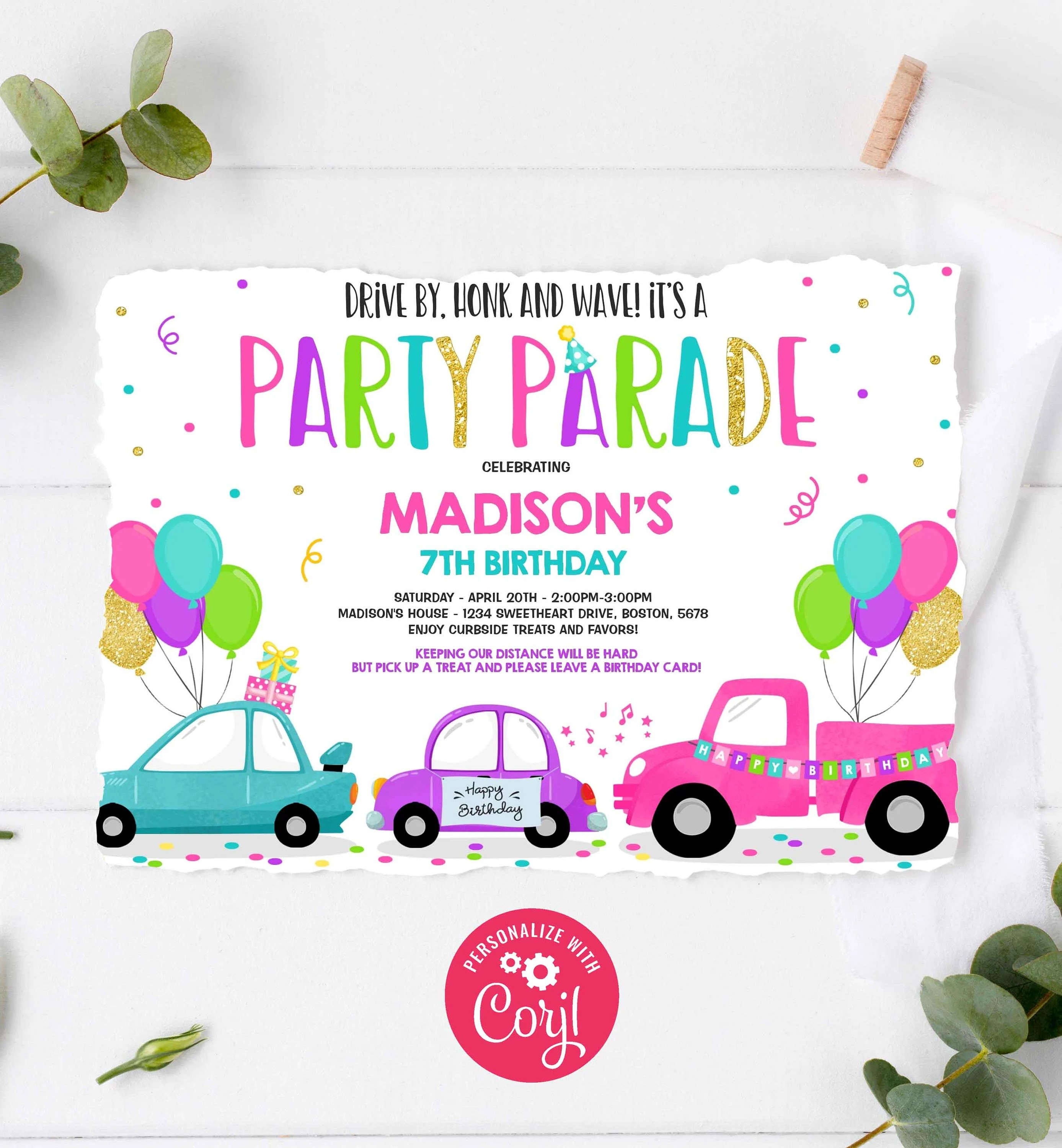 editable drive by birthday parade invitation drive through birthday party quarantine birthday social distancing party instant download bp