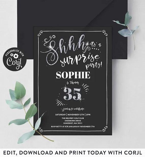 35th surprise birthday invitation