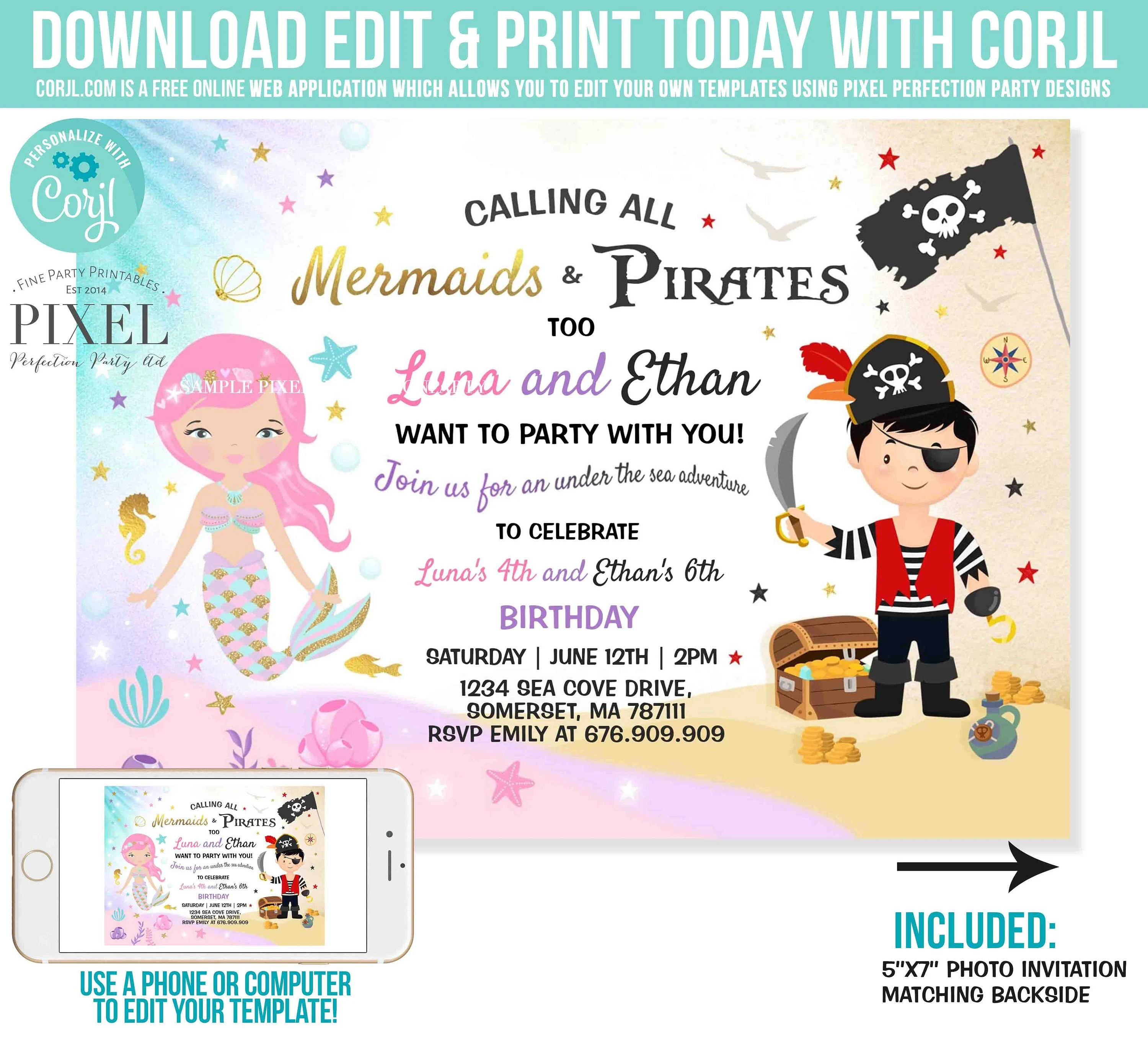 mermaid and pirate birthday invitation sibling mermaid pirate invite sibling mermaid pirate party instant download editable file 7o