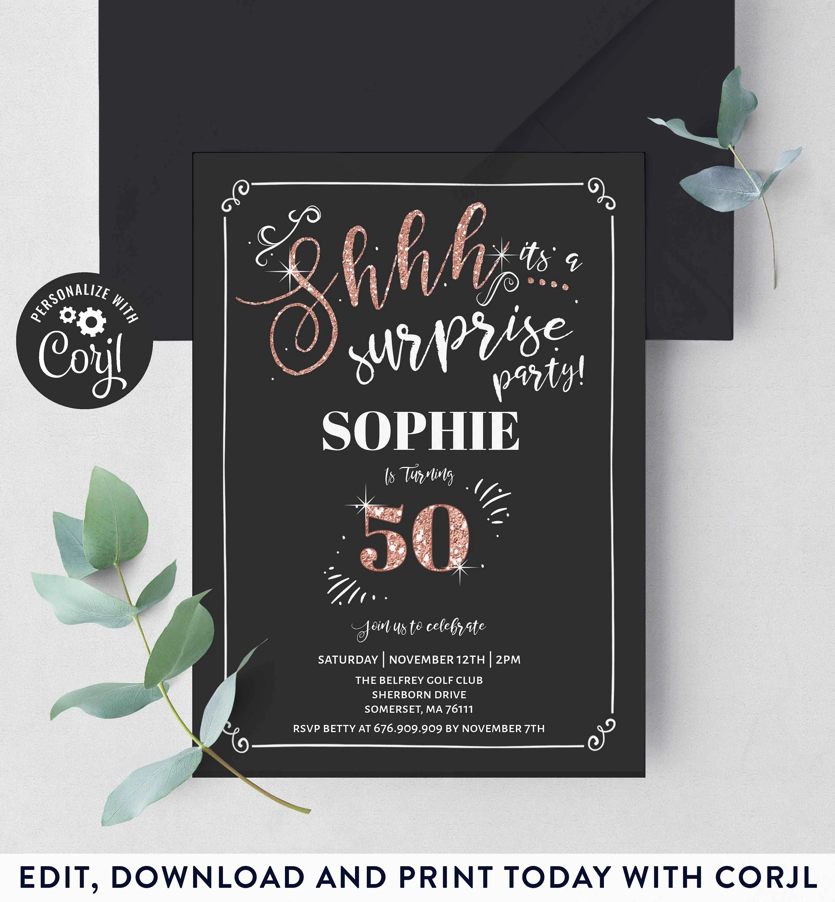 50th Surprise Birthday Invitation Chalkboard Vintage 50th Birthday Invite Rose Gold Invite Template Instant Download Editable Corjl D1 By Pixel Perfection Party Ltd Catch My Party
