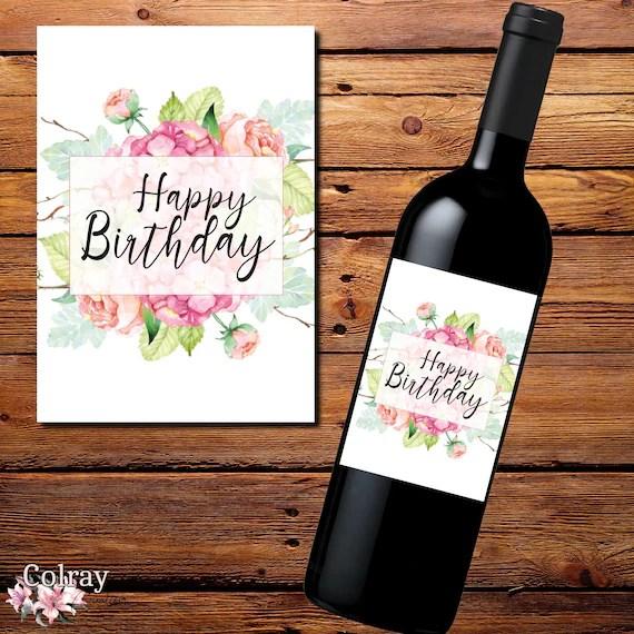 Pretty Birthday Wine Bottle Label Birthday Gift Label Custom Etsy