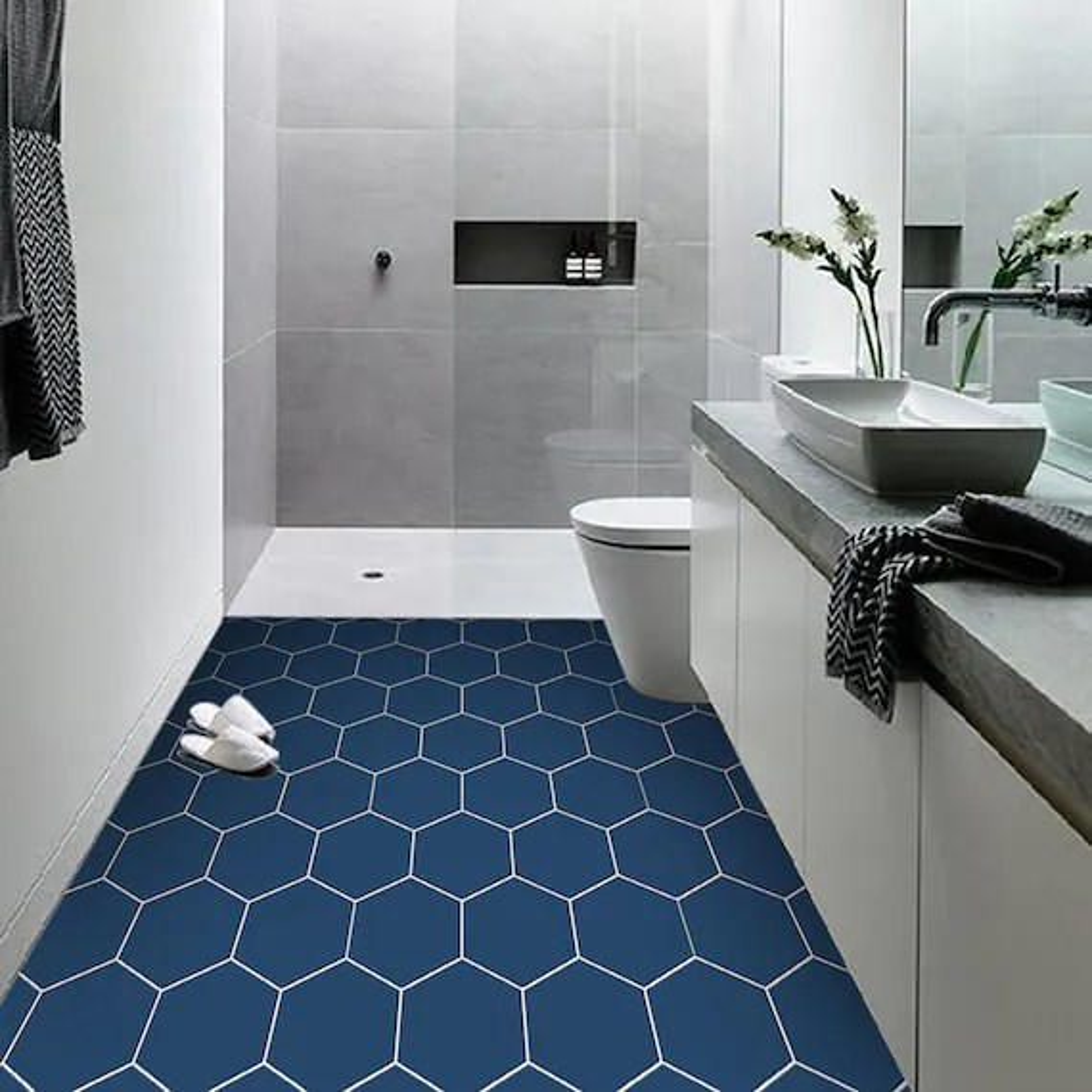 vinyl floor tile sticker panel peel and stick decal hexa etsy