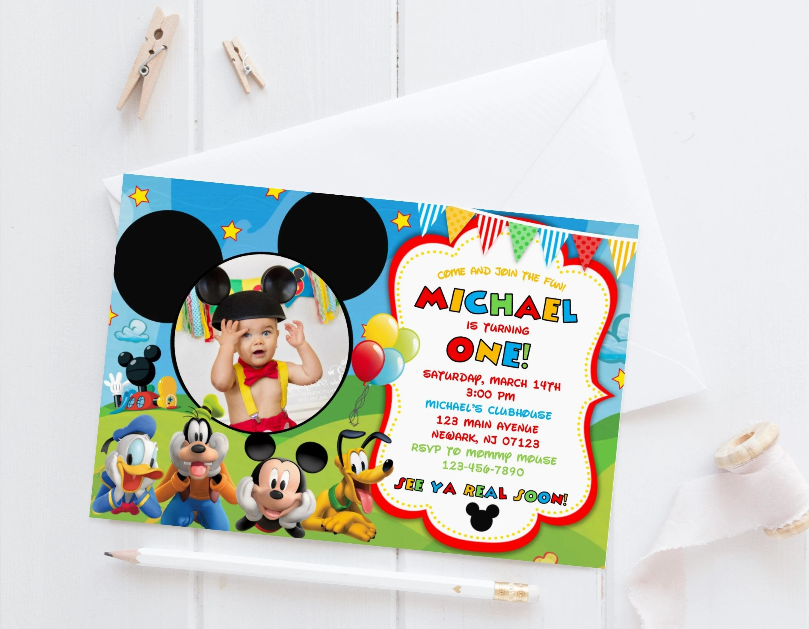 mickey mouse invitation template etsy