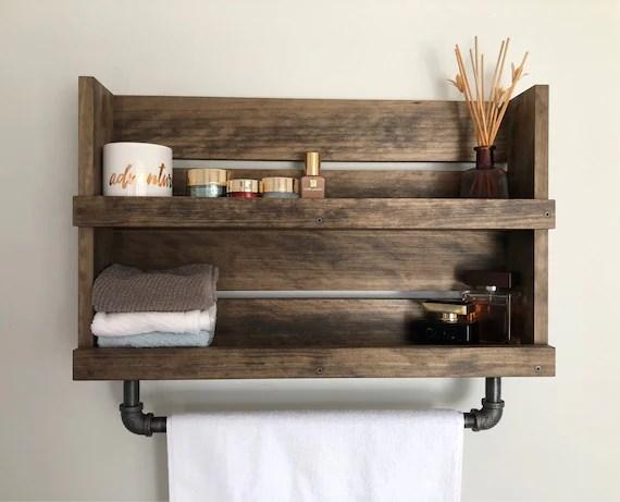 bathroom shelf with pipe towel bar rustic shelf with towel etsy