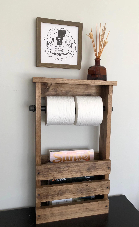 toilet paper holder free standing bathroom magazine rack wooden tablet shelf modern farmhouse rustic decor gift item for her bathroom