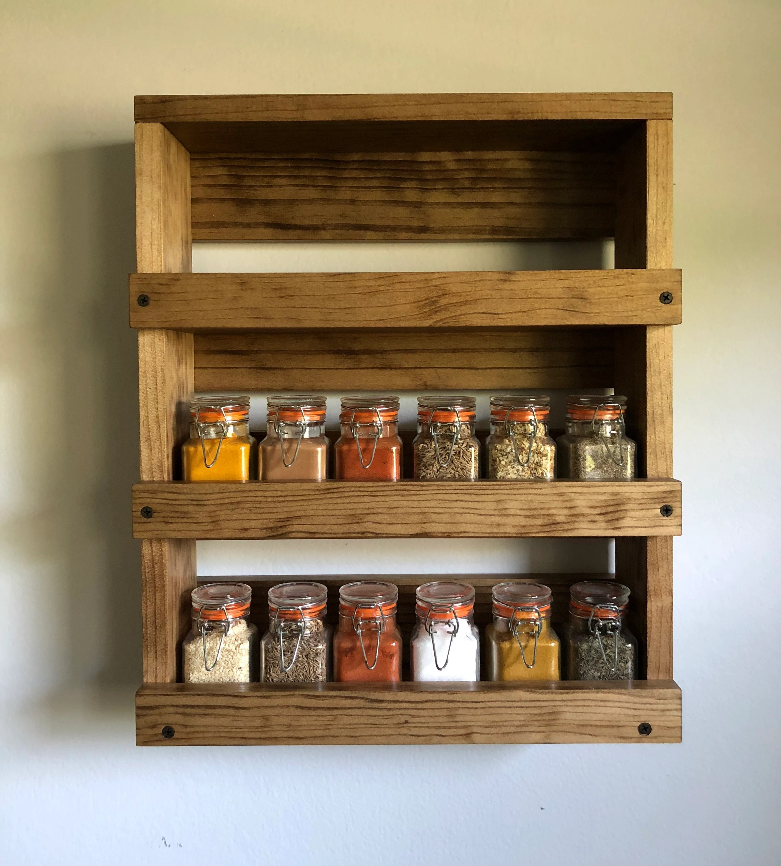 wall mounted spice rack gift item for her kitchen spice etsy