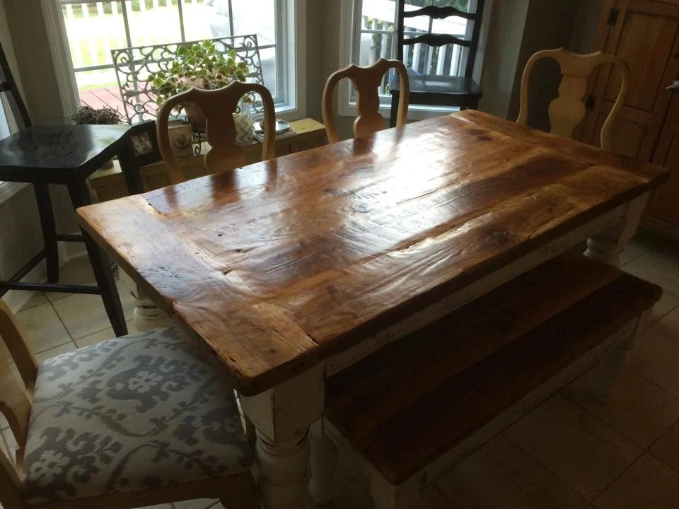 Antique Heart Pine Rustic Distressed 65 Foot Farmhouse Table