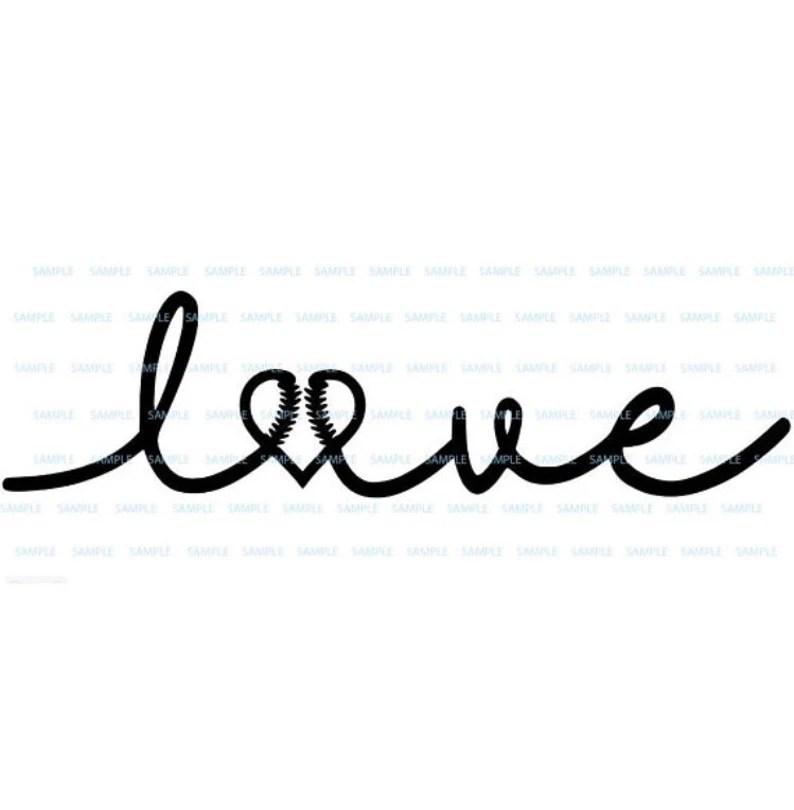 Download Love cursive heart Baseball Softball logo svg png digital ...