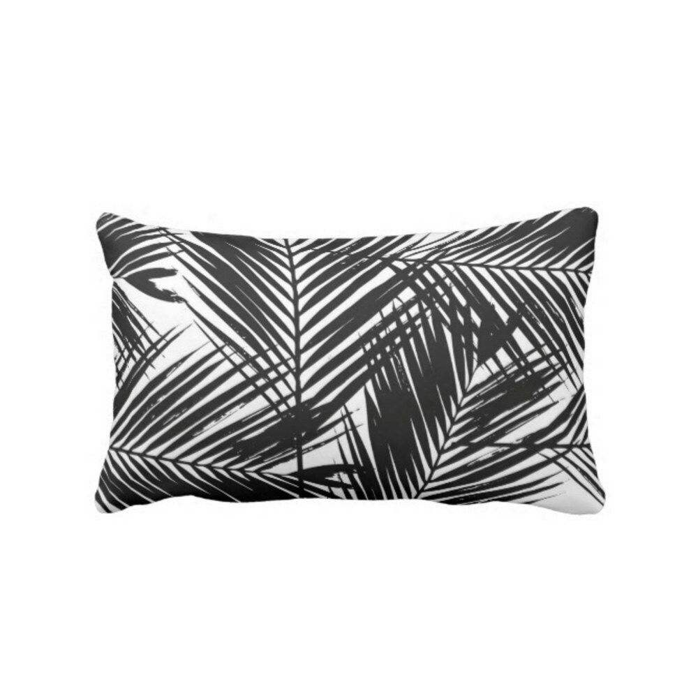 palm print throw pillow or cover black