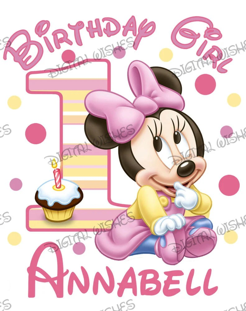 Baby Minnie Mouse 1st Birthday Image Personalized Name Digital Etsy