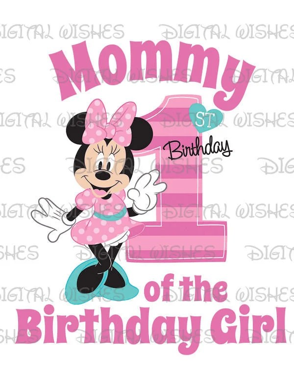 Minnie Mouse 1st Birthday Stripes Hearts Mommy Of The Birthday Girl Digital Iron On Transfer Image