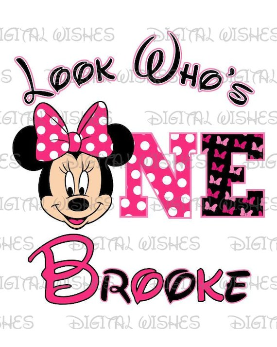 Look Who S One With Minnie Mouse 1st Birthday Image Etsy