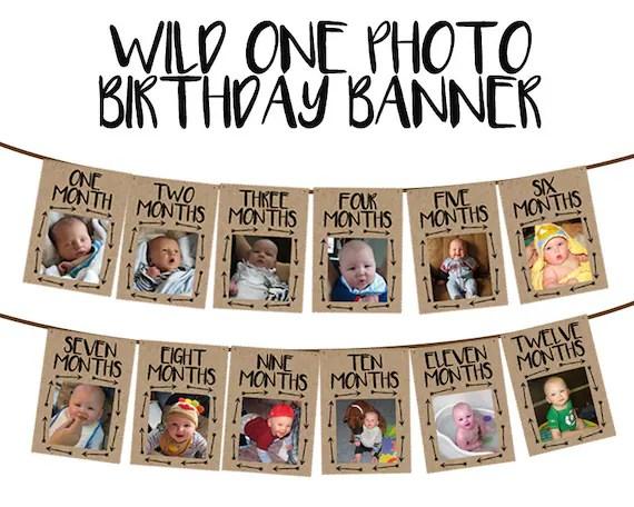 Wild One Photo Banner 1st Birthday Boy